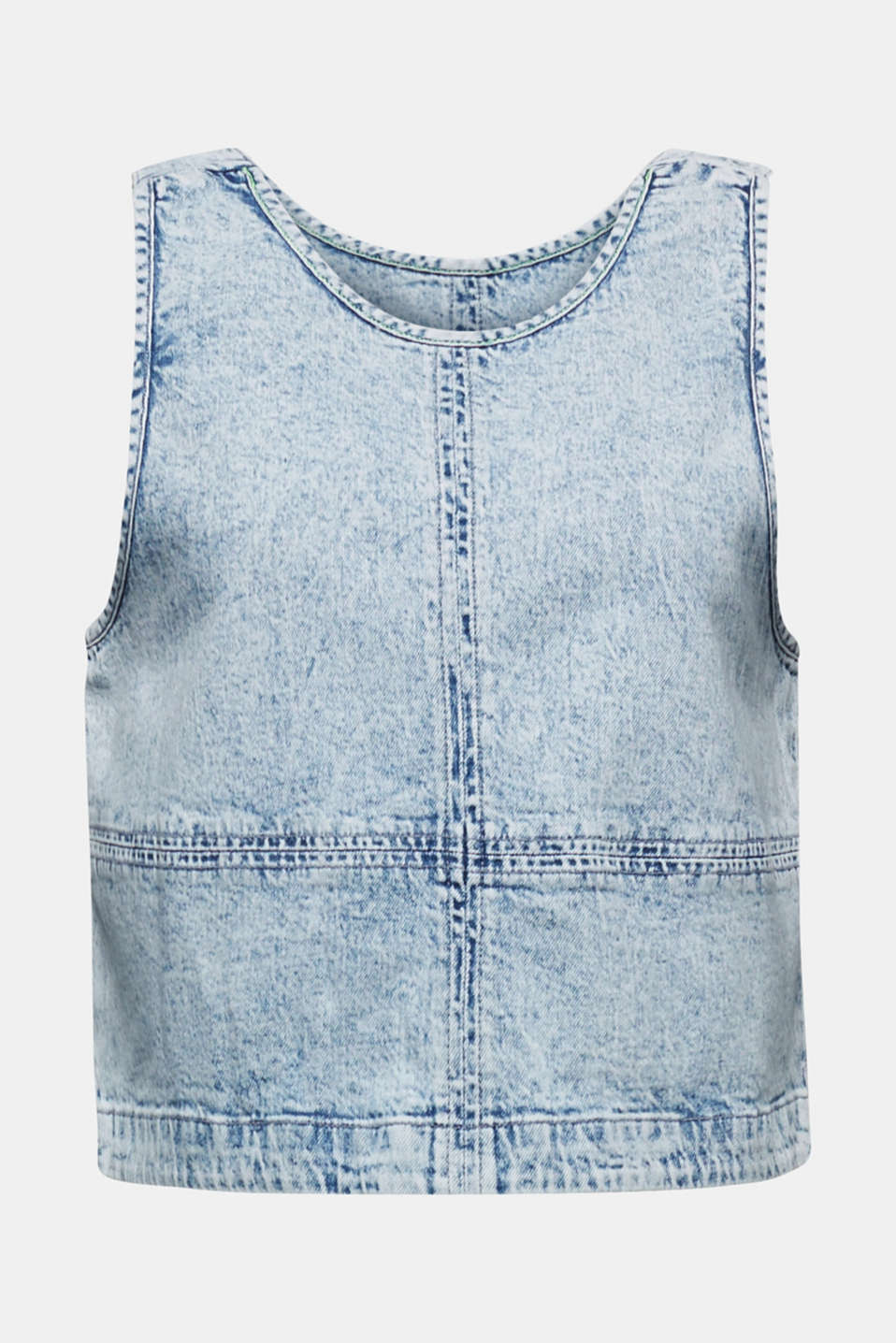 Cropped blouse top made of denim, BLUE BLEACHED, detail image number 5