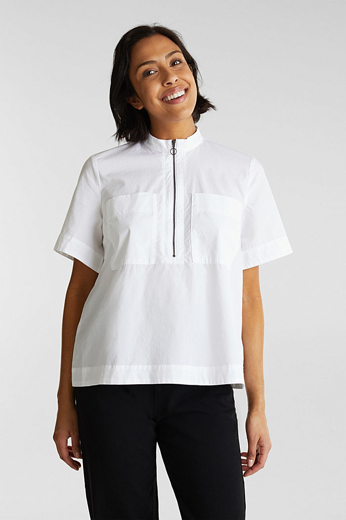 Utility-style blouse, 100% organic cotton, WHITE, detail image number 0