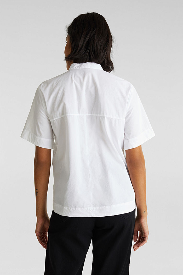 Utility-style blouse, 100% organic cotton, WHITE, detail image number 3
