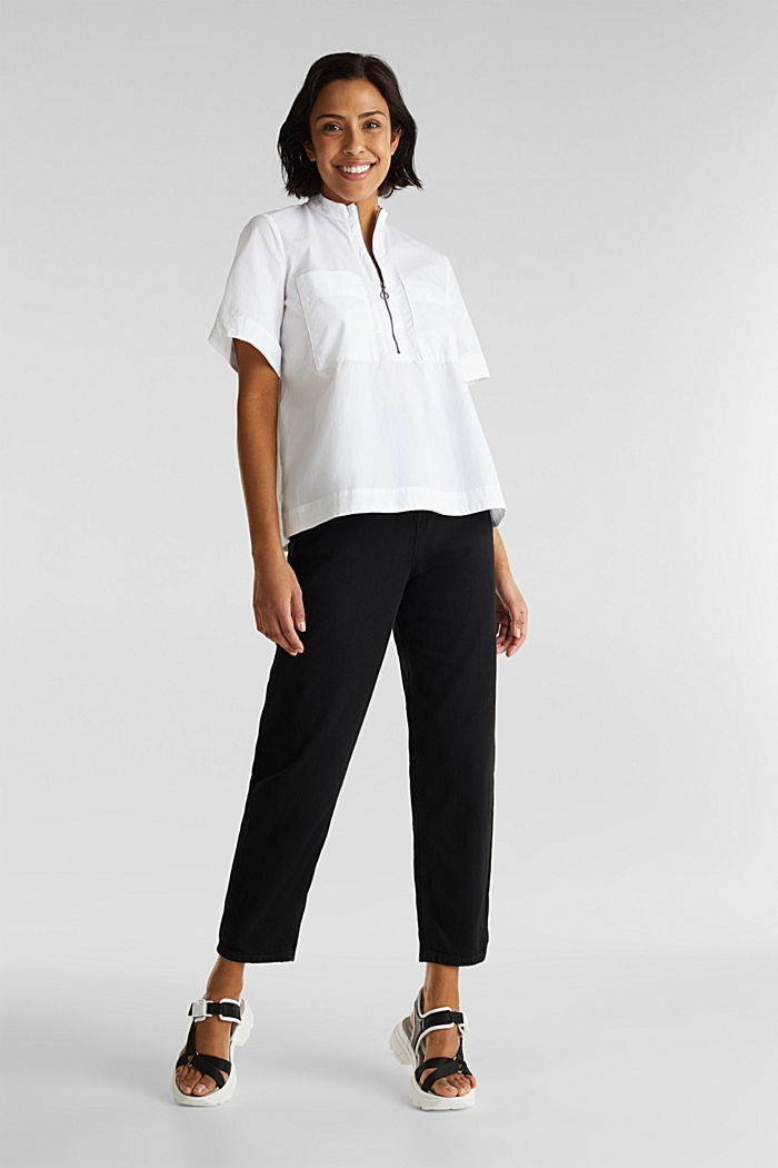 Utility-style blouse, 100% organic cotton, WHITE, detail image number 1