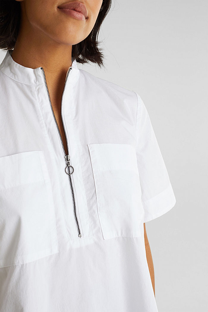 Utility-style blouse, 100% organic cotton, WHITE, detail image number 2