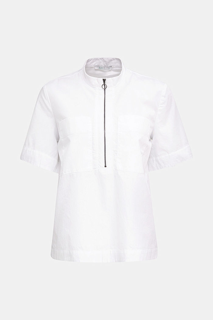 Utility-style blouse, 100% organic cotton, WHITE, detail image number 4