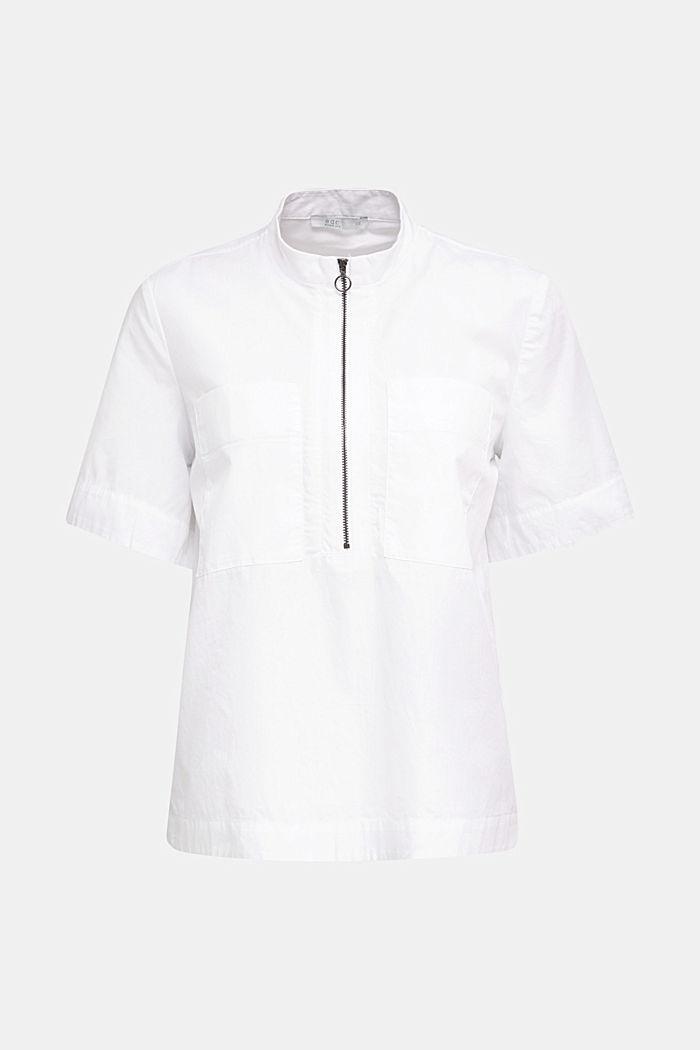 Bluse im Utility-Stil, 100% Bio-Baumwolle, WHITE, detail image number 4