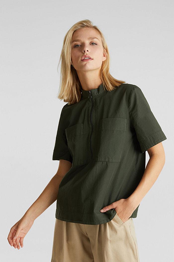 Utility-style blouse, 100% organic cotton, KHAKI GREEN, detail image number 0