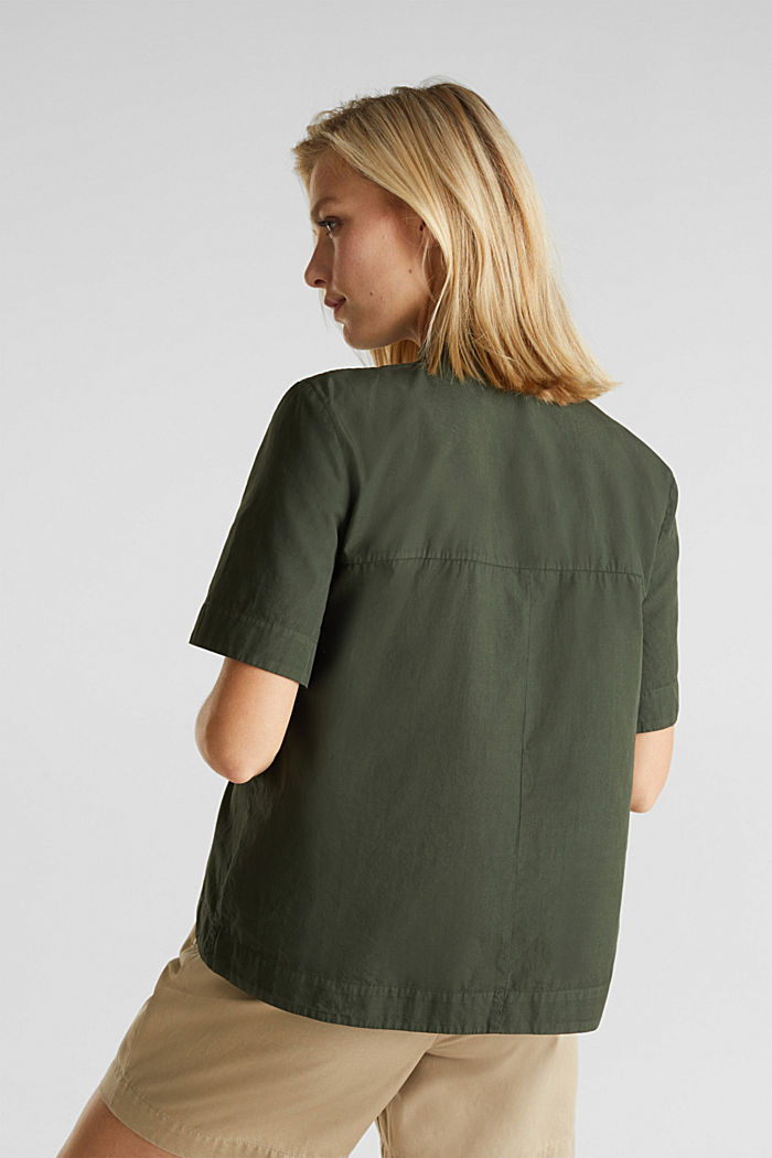 Utility-style blouse, 100% organic cotton, KHAKI GREEN, detail image number 3