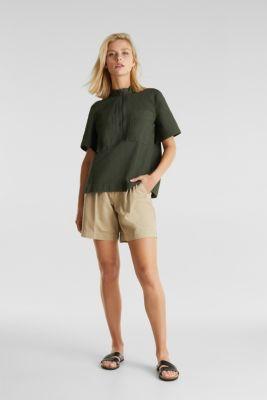 Utility-style blouse, 100% organic cotton, KHAKI GREEN, detail