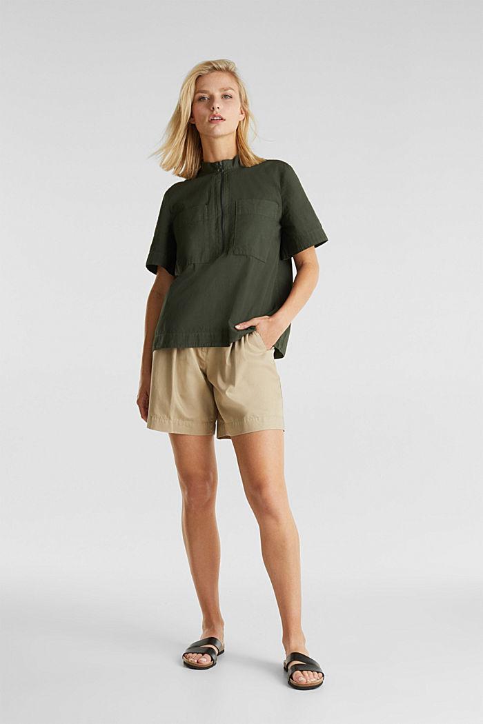 Utility-style blouse, 100% organic cotton, KHAKI GREEN, detail image number 1