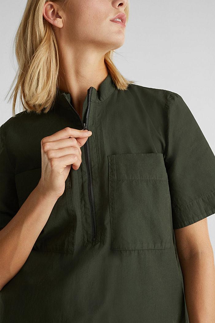Utility-style blouse, 100% organic cotton, KHAKI GREEN, detail image number 2