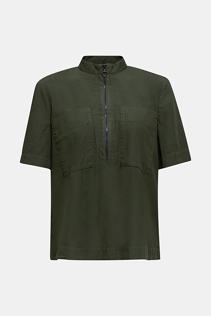 Utility-style blouse, 100% organic cotton, KHAKI GREEN, detail image number 5