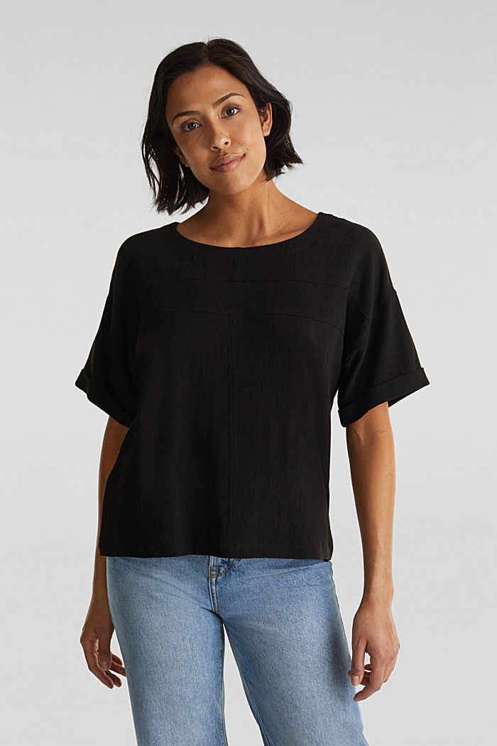 Flowing blouse with linen, BLACK, detail image number 0