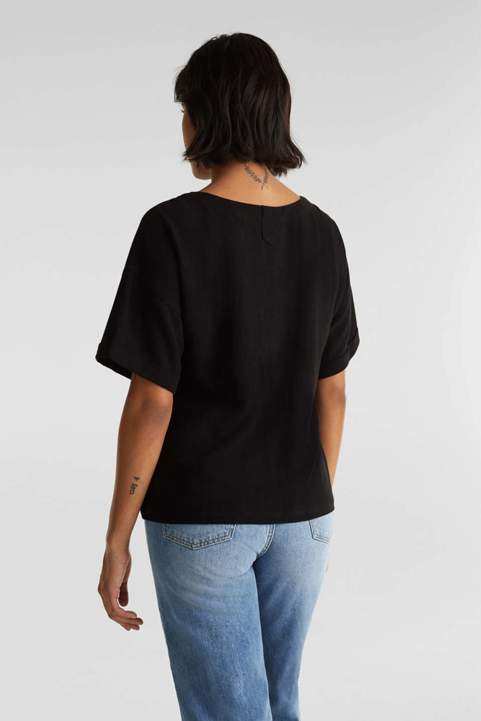 Flowing blouse with linen, BLACK, detail image number 3