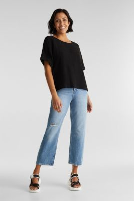 Flowing blouse with linen, BLACK, detail