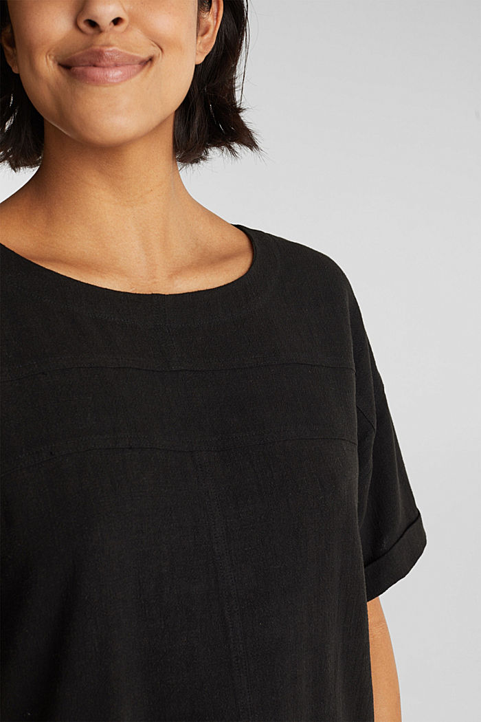 Flowing blouse with linen, BLACK, detail image number 2