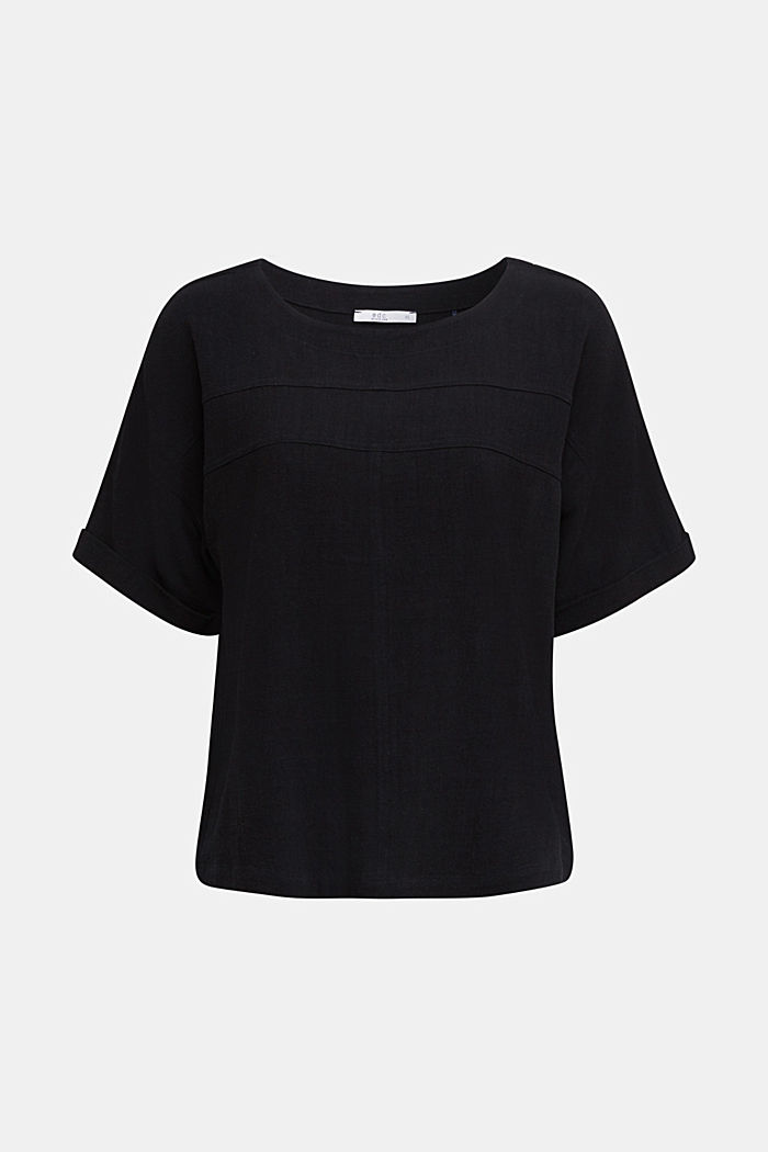 Flowing blouse with linen, BLACK, detail image number 5