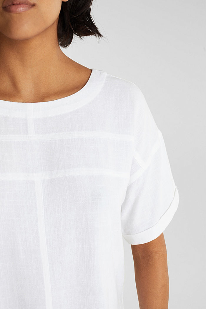 Flowing blouse with linen, WHITE, detail image number 2