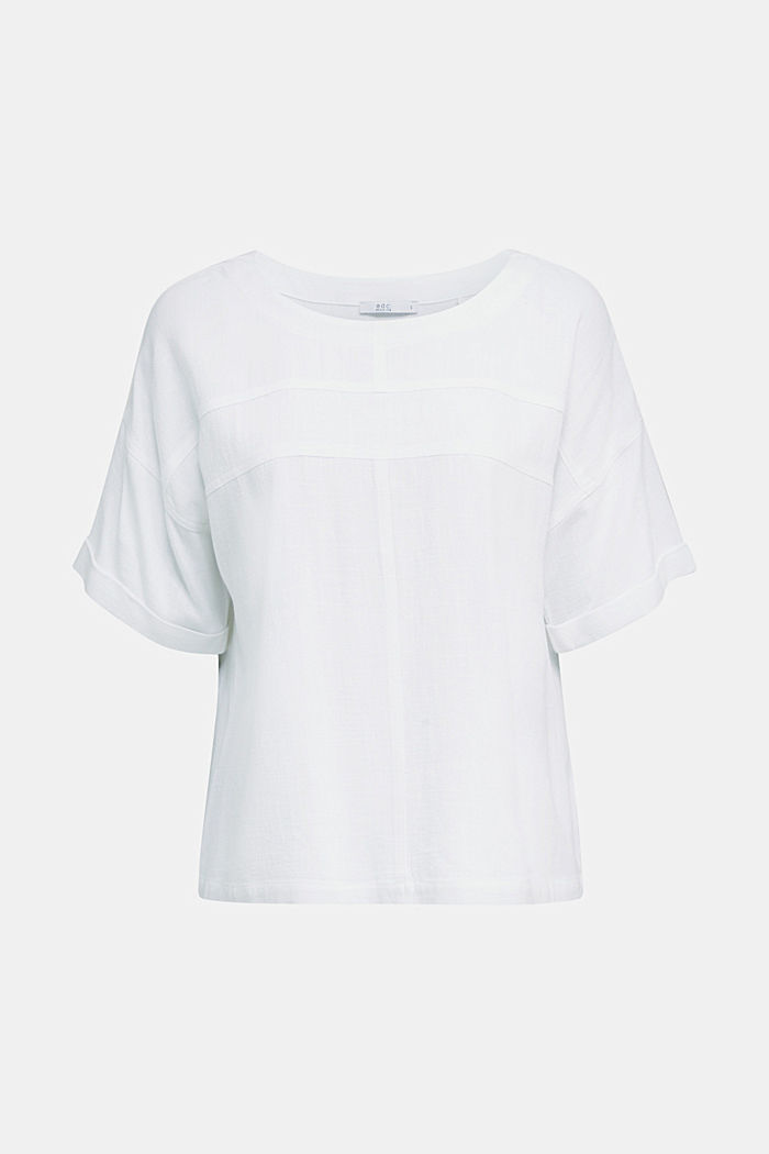Flowing blouse with linen, WHITE, detail image number 5