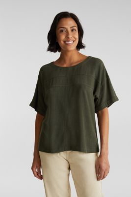 Flowing blouse with linen, KHAKI GREEN, detail