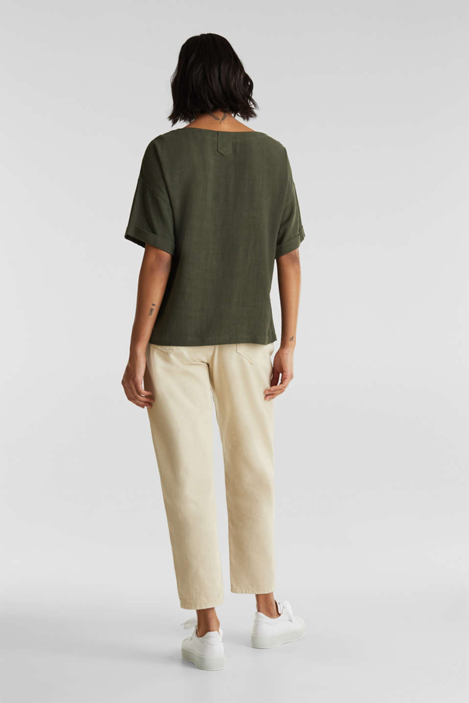 Flowing blouse with linen, KHAKI GREEN, detail image number 2
