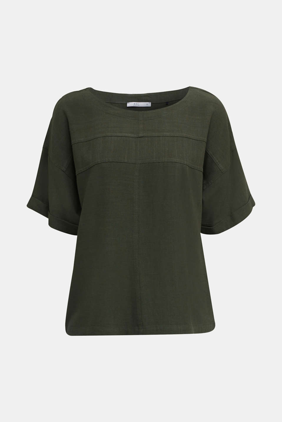 Flowing blouse with linen, KHAKI GREEN, detail image number 4