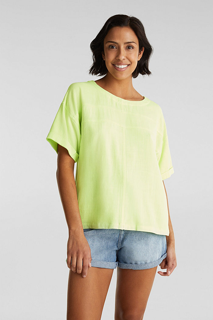 Flowing blouse with linen, LIME YELLOW, detail image number 0