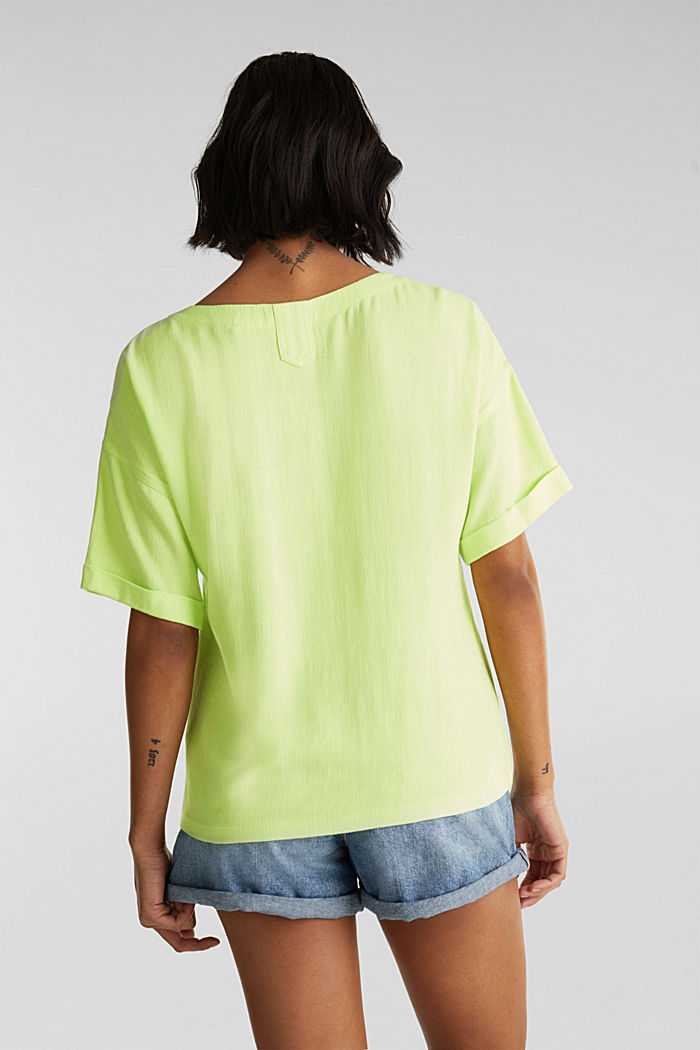 Flowing blouse with linen, LIME YELLOW, detail image number 3