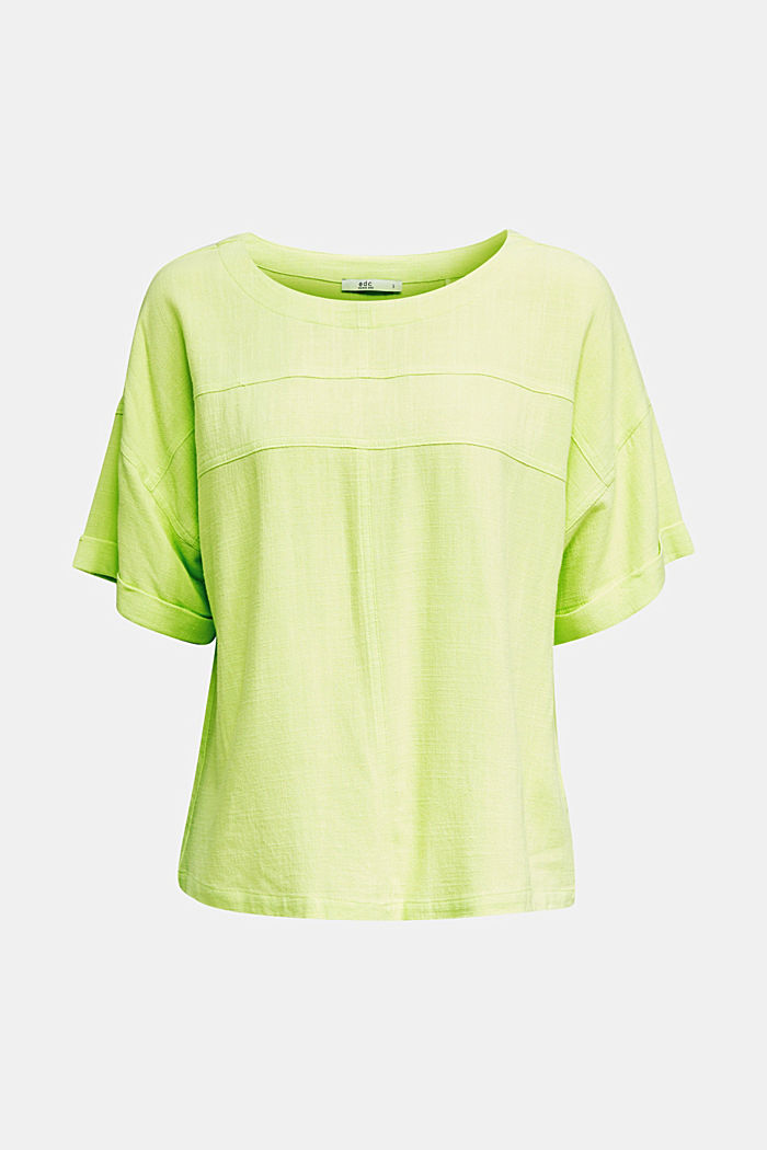 Flowing blouse with linen, LIME YELLOW, detail image number 6