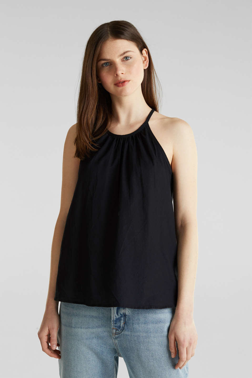 Blouse top, organic cotton, BLACK, detail image number 0