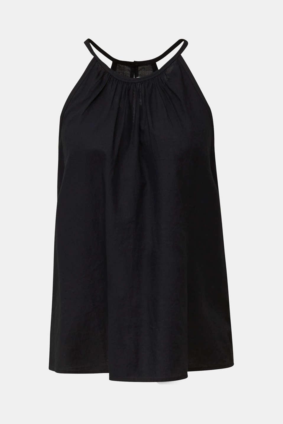 Blouse top, organic cotton, BLACK, detail image number 6