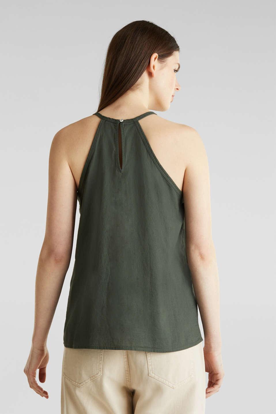 Blouse top, organic cotton, KHAKI GREEN, detail image number 3