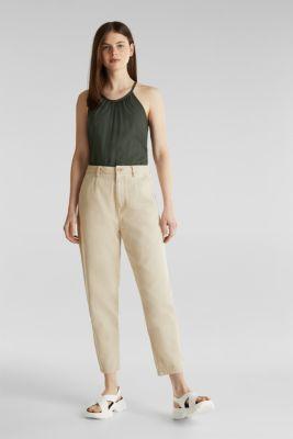 Blouse top, organic cotton, KHAKI GREEN, detail