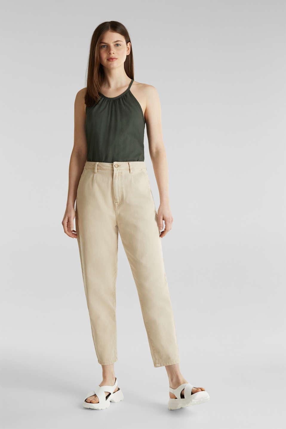 Blouse top, organic cotton, KHAKI GREEN, detail image number 1