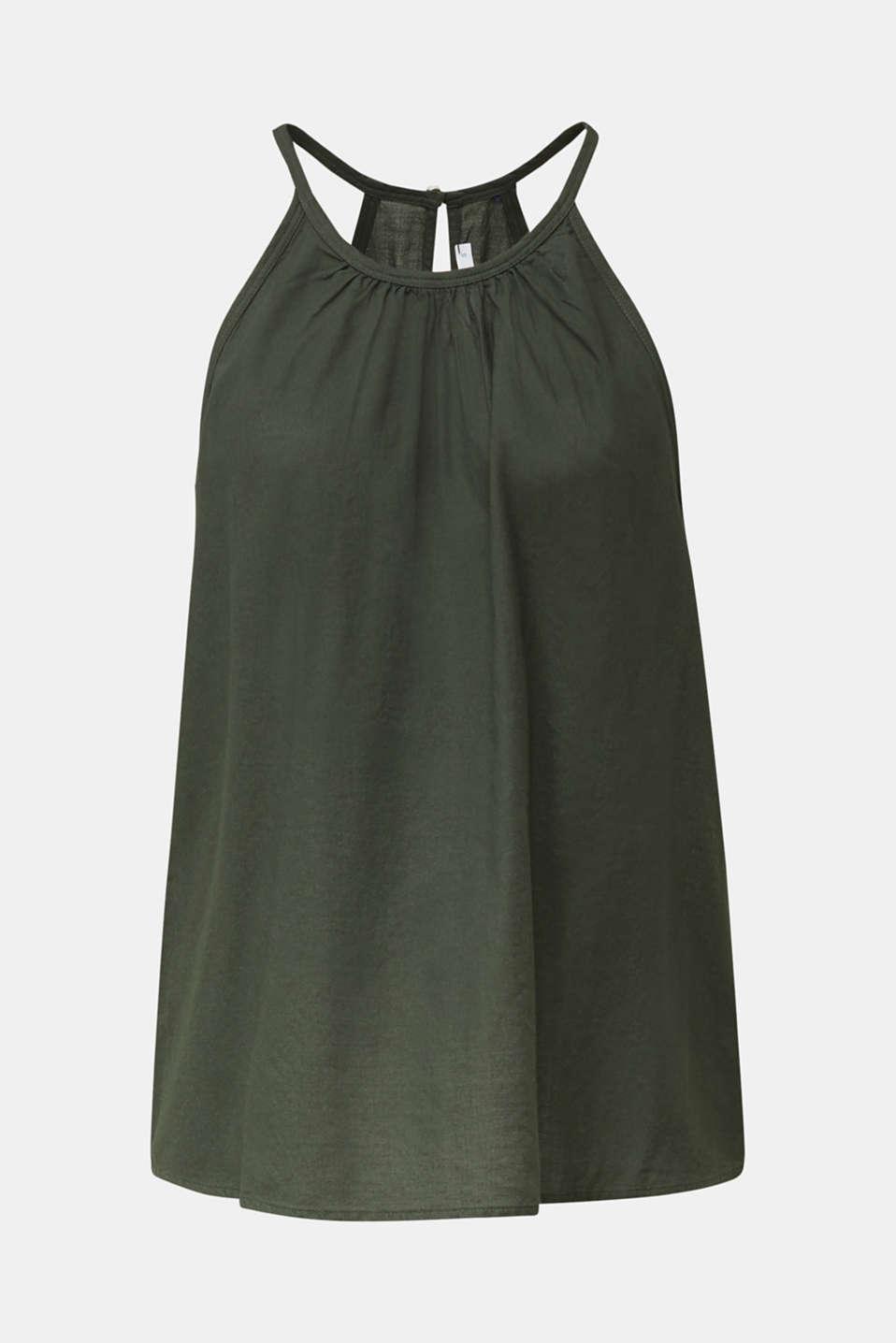 Blouse top, organic cotton, KHAKI GREEN, detail image number 5