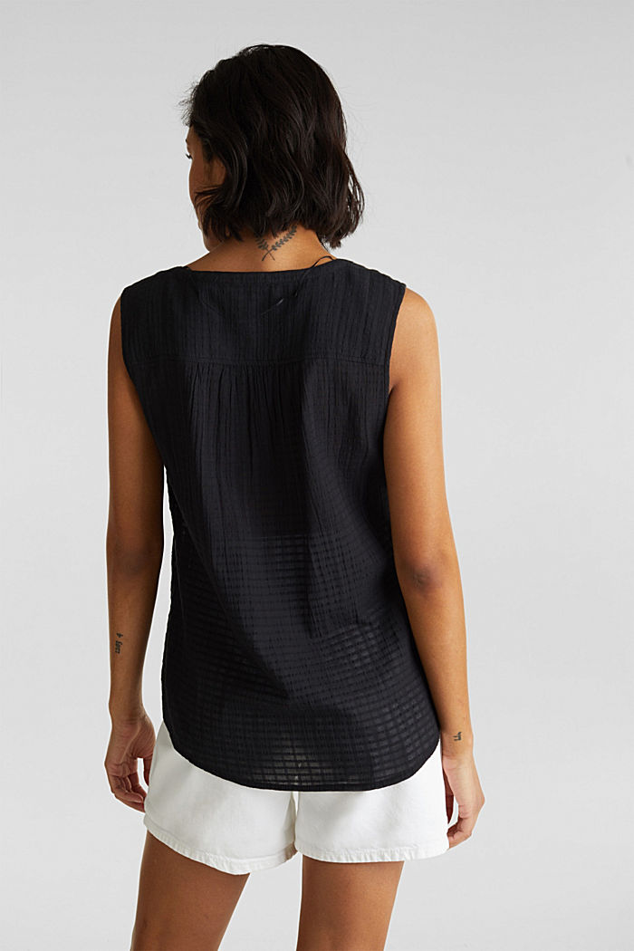Blouse top, 100% cotton, BLACK, detail image number 3