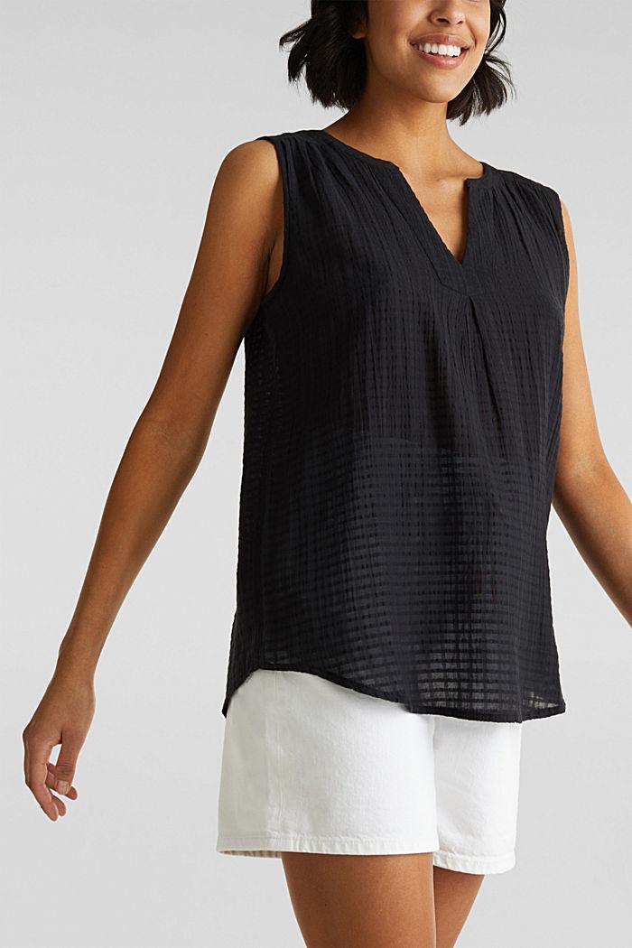Blouse top, 100% cotton, BLACK, detail image number 5