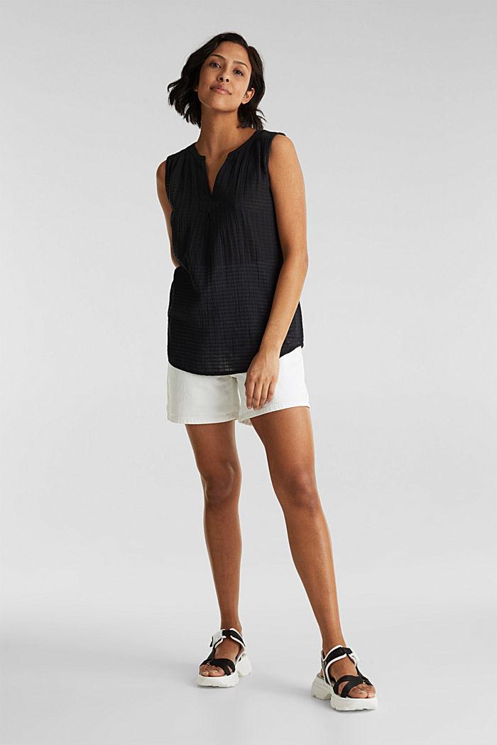 Blouse top, 100% cotton, BLACK, detail image number 1