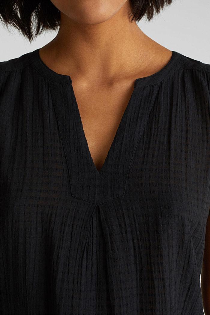 Blouse top, 100% cotton, BLACK, detail image number 2