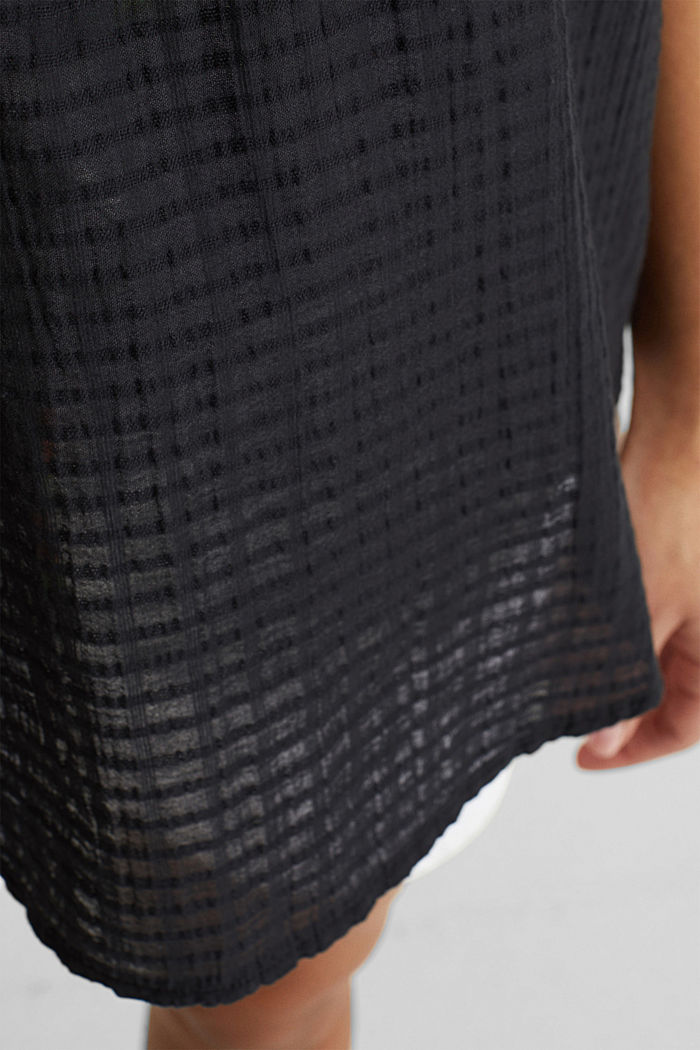 Blouse top, 100% cotton, BLACK, detail image number 4