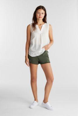 Blouse top, 100% cotton, OFF WHITE, detail