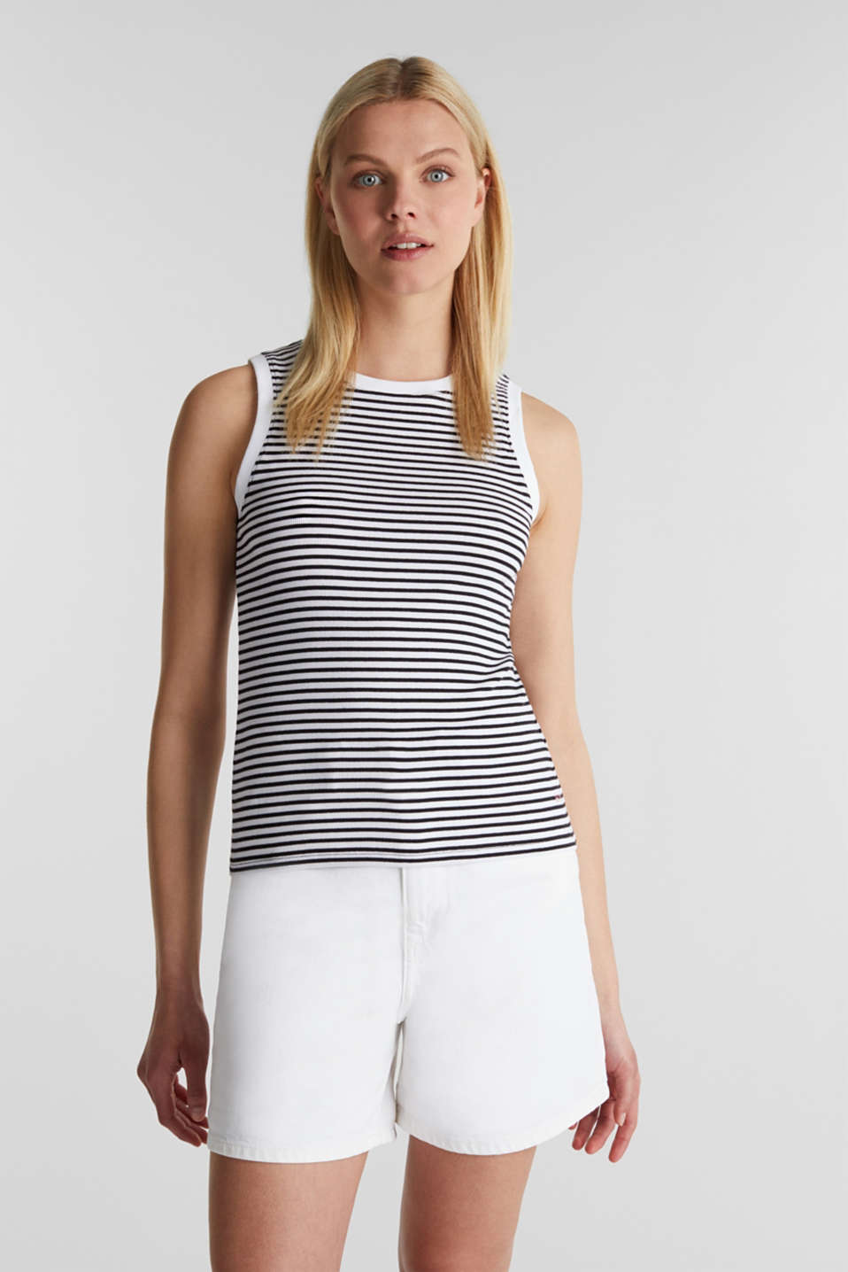 Ribbed jersey sleeveless top, BLACK, detail image number 0