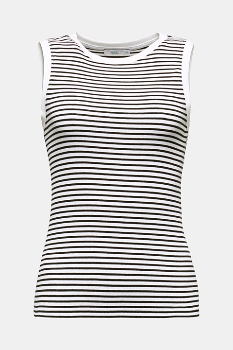 Ribbed jersey sleeveless top