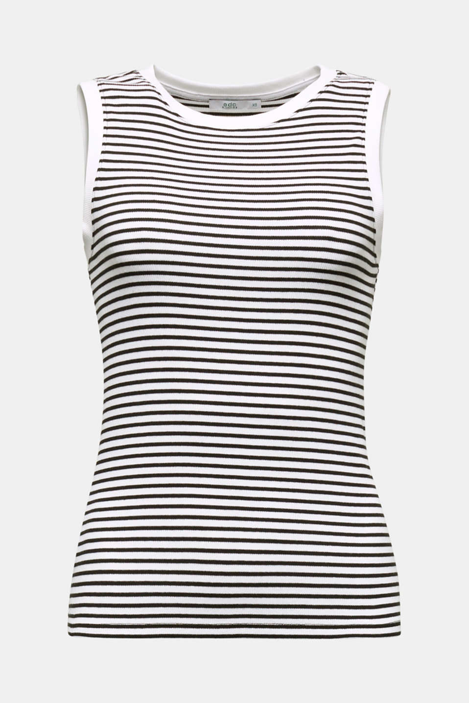 Ribbed jersey sleeveless top, BLACK, detail image number 5