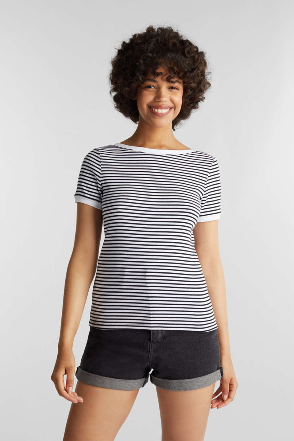 Top with organic cotton, BLACK, detail image number 0