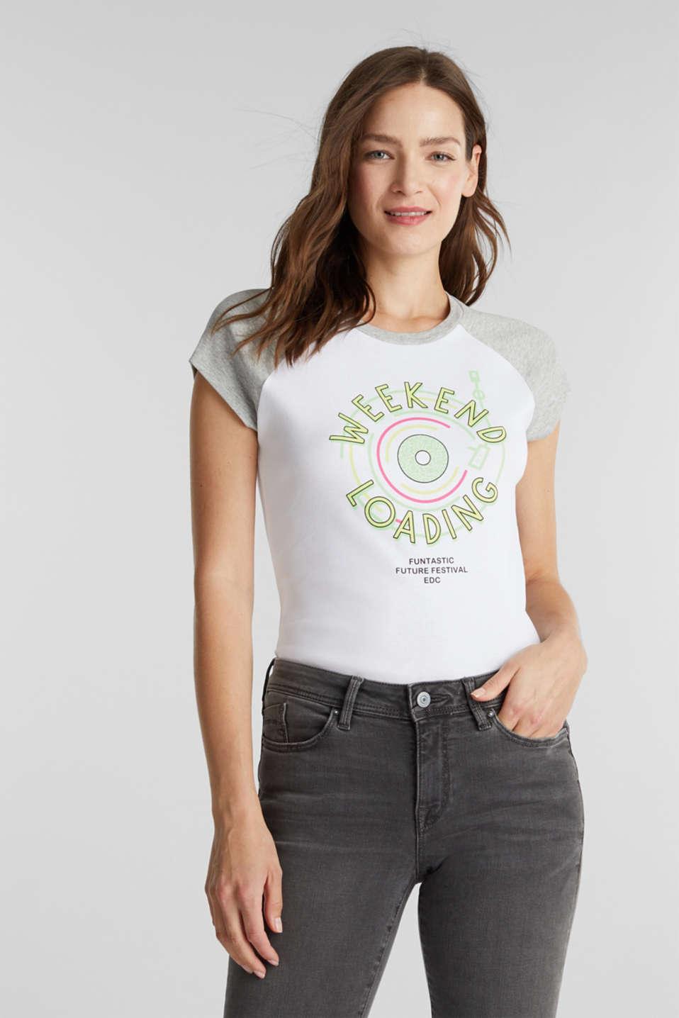 Print T-shirt, 100% organic cotton, WHITE, detail image number 0
