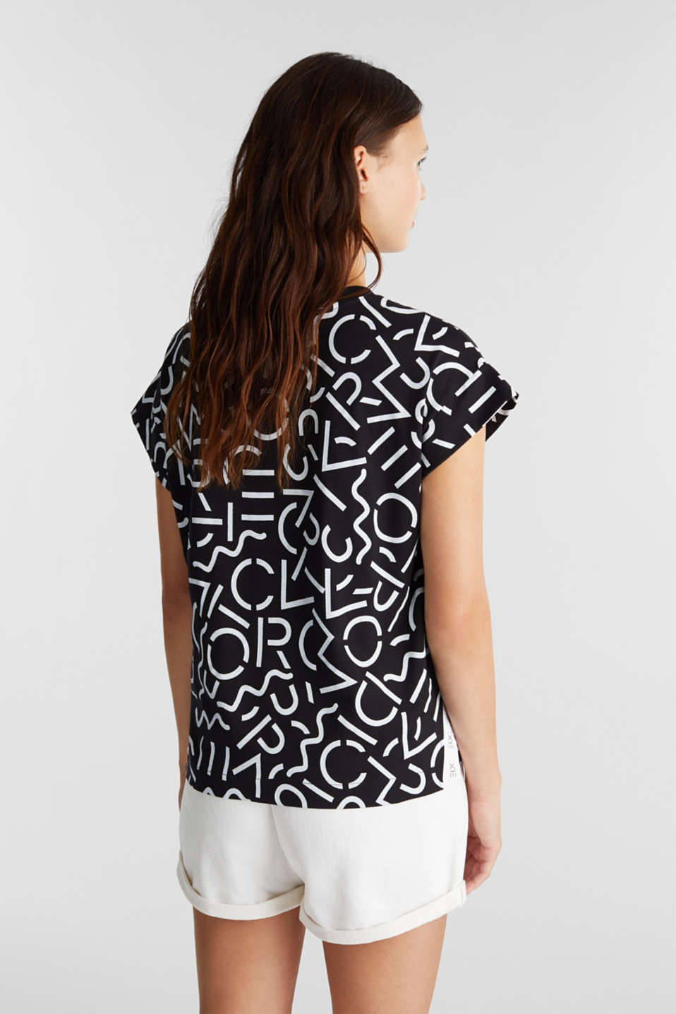Top with a monogram print, BLACK, detail image number 3