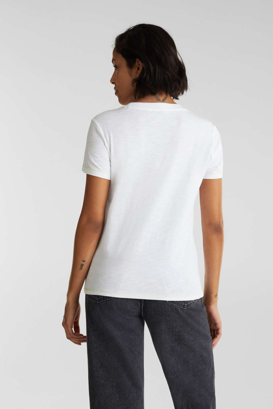 Slub top with organic cotton, WHITE, detail image number 3