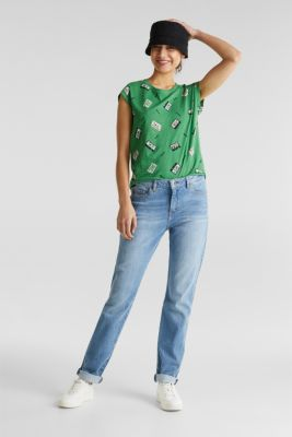 Print t-shirt with organic cotton, GREEN, detail