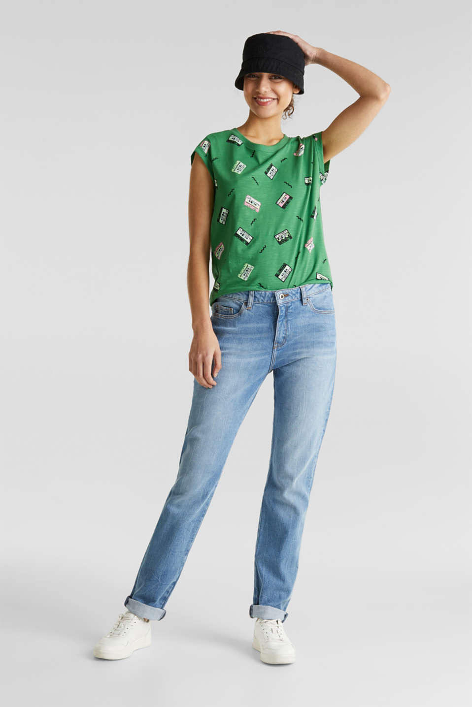 Print t-shirt with organic cotton, GREEN, detail image number 1