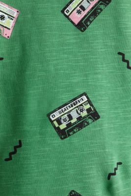 Print t-shirt with organic cotton, GREEN, detail