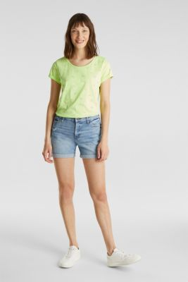Top made of 100% organic cotton, LIME YELLOW, detail
