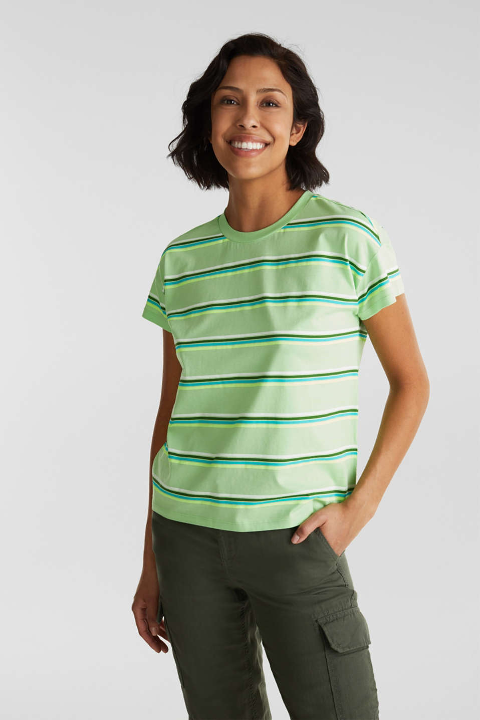 Striped top, 100% organic cotton, LIGHT GREEN, detail image number 0